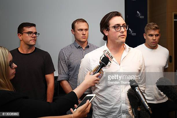 Nick Kelly from the group dubbed the 'Budgie Nine' addresses the media at Sydney International Airport on October 7 2016 in Sydney Australia The men...