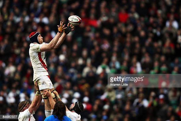 Nick Kennedy of England wins lineout ball during the RBS 6 Nations Championship match between England and Italy at Twickenham on February 7 2009 in...