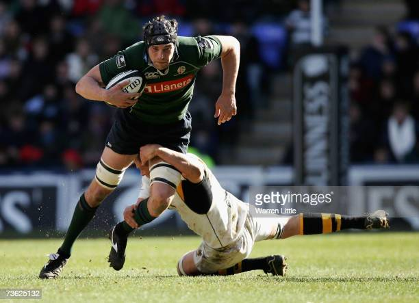 Nick Kennedy of London Irish is tackled during the Guinness Premiership match between London Irish and London Wasps at Madejski Stadium on March 18...