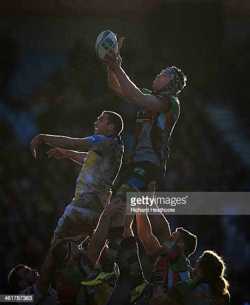 Nick Kennedy of Quins wins a lineout during the Heineken Cup match between Harlequins and Clermont Auvergne at the Twickenham Stoop on January 11...