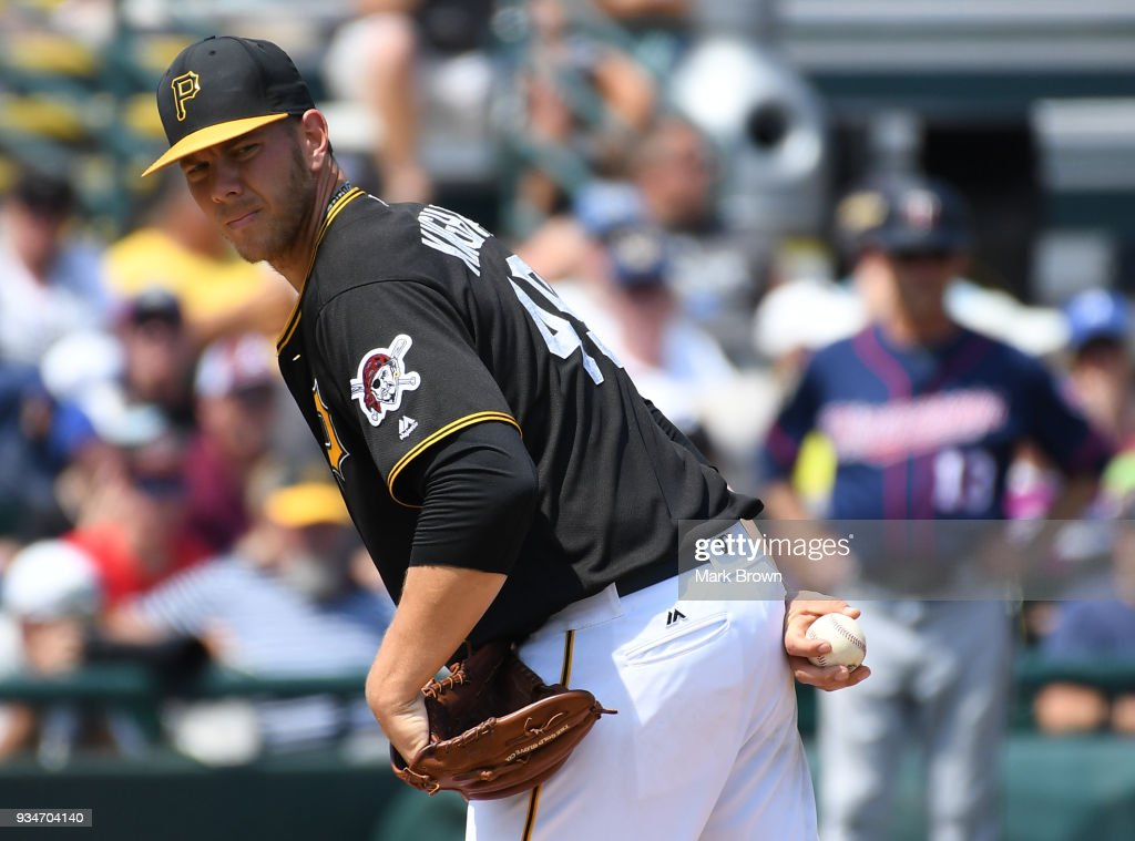 Nick Kingham #49 of the Pittsburgh Pirates looks to first in the third inning during the spring training game between the Pittsburgh Pirates and the Minnesota Twins at LECOM Field on March 19, 2018 in Bradenton, Florida.