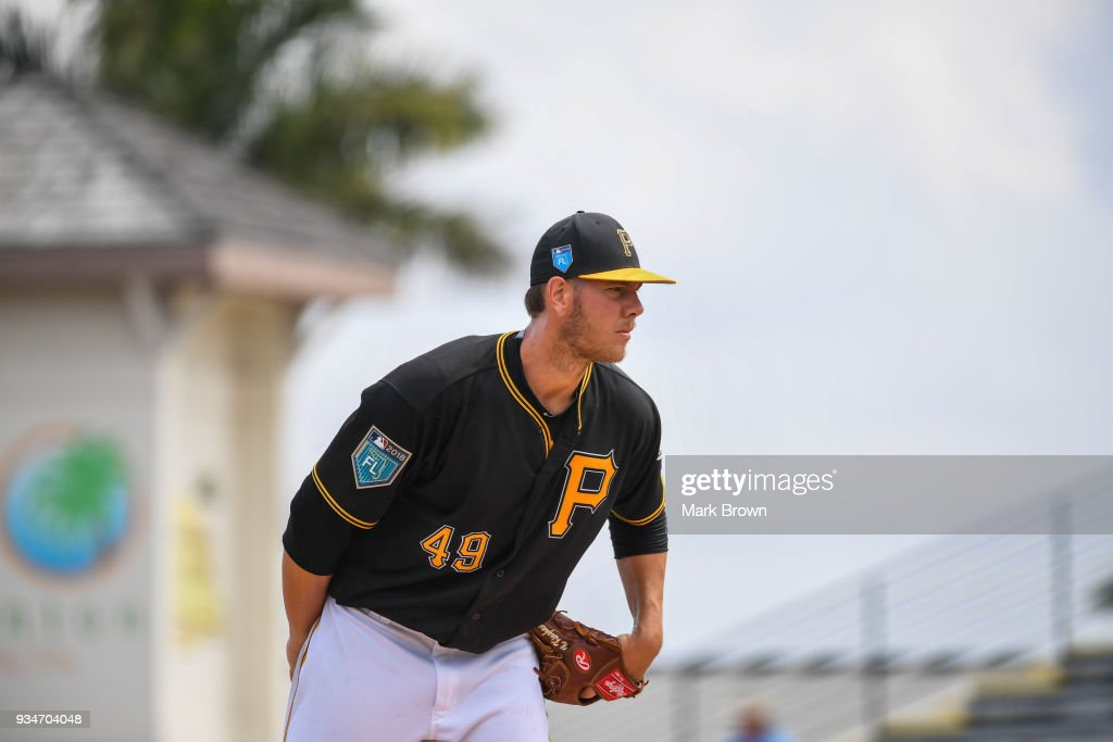 Nick Kingham #49 of the Pittsburgh Pirates pitches in the first inning during the spring training game between the Pittsburgh Pirates and the Minnesota Twins at LECOM Field on March 19, 2018 in Bradenton, Florida.