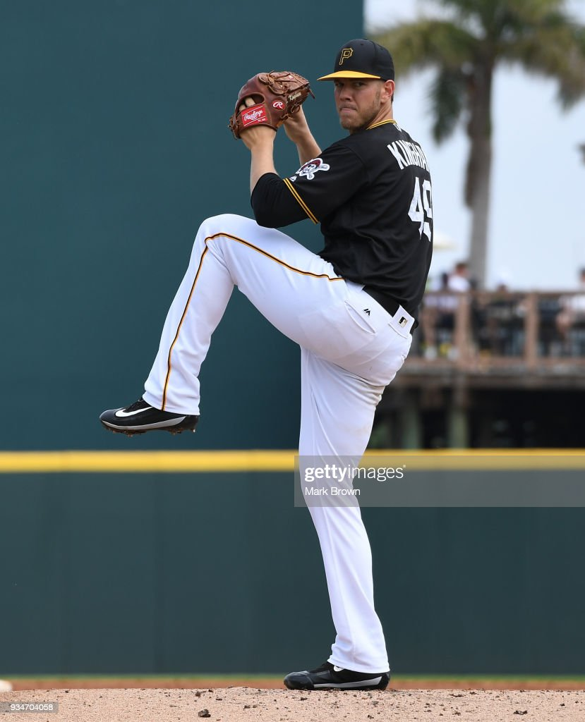 Nick Kingham #49 of the Pittsburgh Pirates warms up in the second inning during the spring training game between the Pittsburgh Pirates and the Minnesota Twins at LECOM Field on March 19, 2018 in Bradenton, Florida.