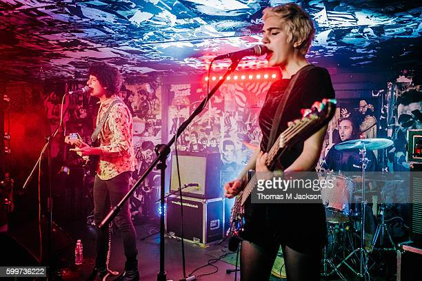 Nick Kivlen and Julia Cumming of Sunflower Bean perform at Think Tank on September 6 2016 in Newcastle upon Tyne England