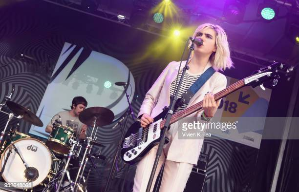Nick Kivlen and Julia Cumming of Sunflower Bean perform onstage during Pandora SXSW 2018 on March 15 2018 in Austin Texas