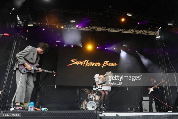 Nick Kivlen Julia Cumming and Jacob Faber of Sunflower Bean perform onstage for Day 2 during 2019 Governors Ball Music Festival at Randall's Island...