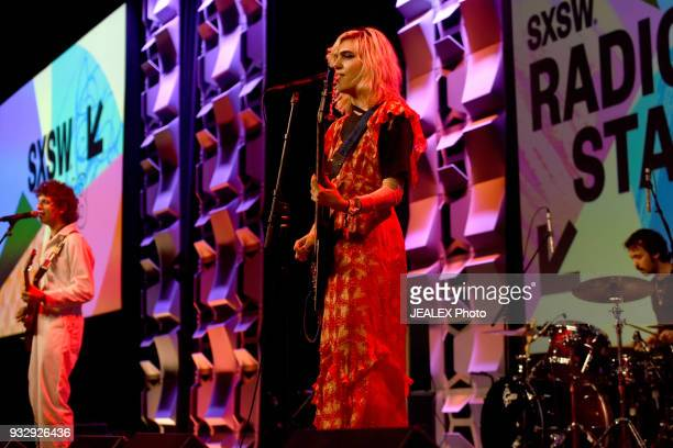 Nick Kivlen Julia Cumming and Jacob Faber of Sunflower Bean performs at Radio Day Stage during SXSW at Radio Day Stage on March 16 2018 in Austin...
