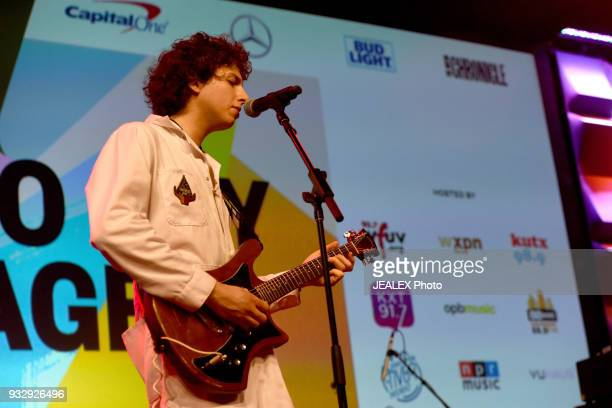 Nick Kivlen of Sunflower Bean performs at Radio Day Stage during SXSW at Radio Day Stage on March 16 2018 in Austin Texas