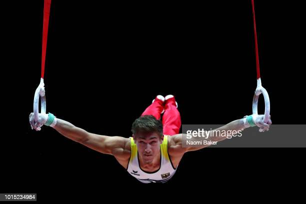 Nick Klessing of Germany competes in Rings during the Men's team Gymnastics Final during the Gymnastics on Day Ten of the European Championships...