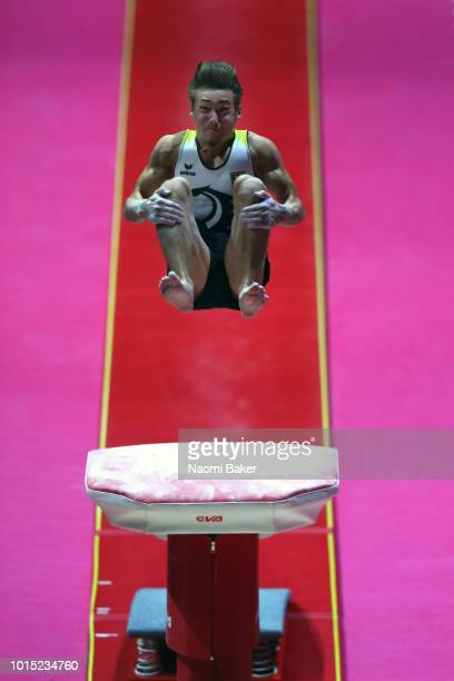 Nick Klessing of Germany competes in Vault during the Men's team Gymnastics Final during the Gymnastics on Day Ten of the European Championships...