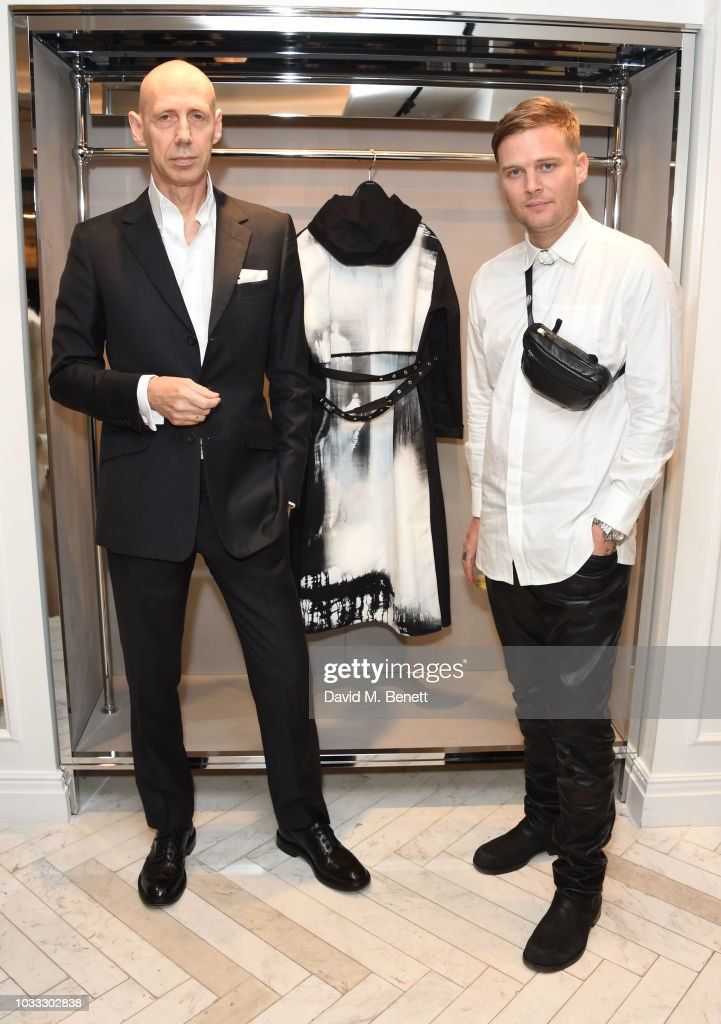 Nick Knight and Matthew Williams attend the launch of the Nick Knight x Alyx Mackintosh limited edition coat during London Fashion Week September 2018 at the Mackintosh boutique on September 14, 2018 in London, England.