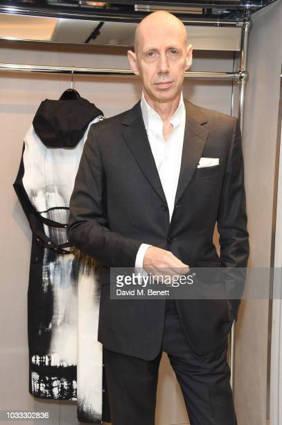 Nick Knight attends the launch of the Nick Knight x Alyx Mackintosh limited edition coat during London Fashion Week September 2018 at the Mackintosh...