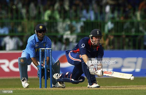 Nick Knight of England hits out during the ICC Champions Trophy match between England and India at the R Premadasa Stadium Colombo Sri Lanka on...
