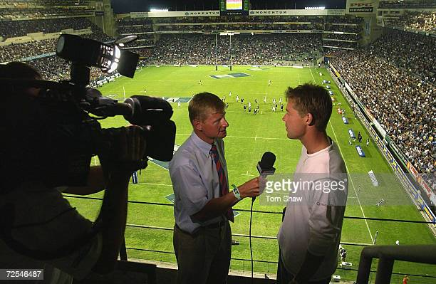 Nick Knight of England is interviewed for television as he attends the Sharks v Stormers Super 12 Rugy match at Newlands Stadium Cape Town South...