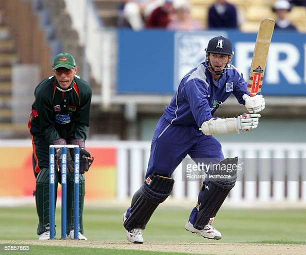 Nick Knight of Warkickshire hits a four during the CG Trophy second round match between Warwickshire and Leicestershire at Edgbaston Cricket Ground...
