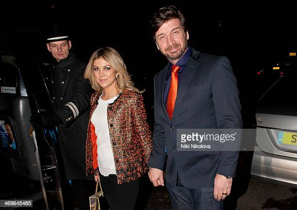 Nick Knowles and Jessica Knowles are seen leaving Claridge's hotel Mayfair on February 15 2014 in London England