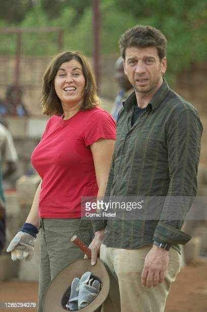 Nick Knowles and Lisa Tarbuck takes part in Red Nose Day on March 11, 2005.