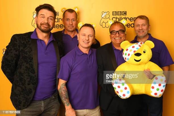 Nick Knowles Mark Millar Billy Byrne and Chris Frediani of DIY SOS backstage at BBC Children in Need's 2019 Appeal night at Elstree Studios on...