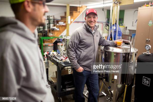 Nick Knowlton right talks with Trevor Knell in brew room on a Friday night at Grateful Grain Brewing Co The brewery was started by four friends...