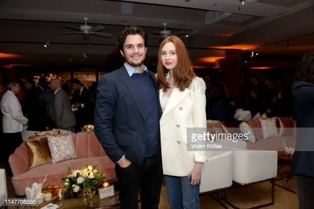 Nick Kocher and Karen Gillan attend the premiere of Hulu's Catch22 on May 07 2019 in Hollywood California