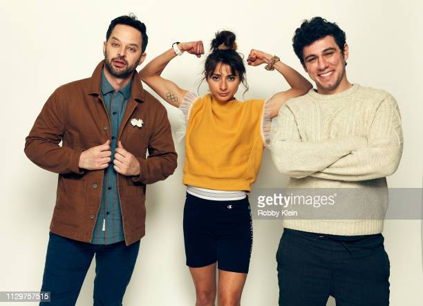Nick Kroll Alexi Pappas and Jeremy Teicher of the film 'Olympic Dreams' pose for a portrait at the 2019 SXSW Film Festival Portrait Studio on March...