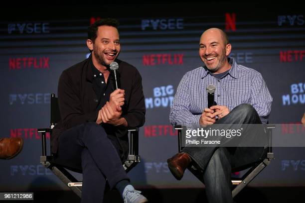 Nick Kroll and Andrew Goldberg speak onstage at the #NETFLIXFYSEE Animation Panel Featuring Big Mouth and BoJack Horseman at Netflix FYSEE at Raleigh...