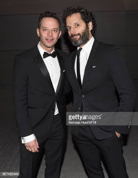 Nick Kroll and Jason Mantzoukas attend the 2018 Vanity Fair Oscar Party hosted by Radhika Jones at Wallis Annenberg Center for the Performing Arts on...