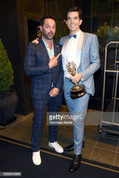 Nick Kroll and John Mulaney attend the Michael Che and Colin Jost's Emmys After Party presented by Google at Hollywood Roosevelt Hotel on September...