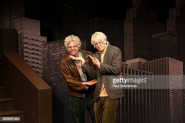 Nick Kroll and John Mulaney perform on stage during OH HELLO Opening Night at Cherry Lane Theatre on December 10 2015 in New York City