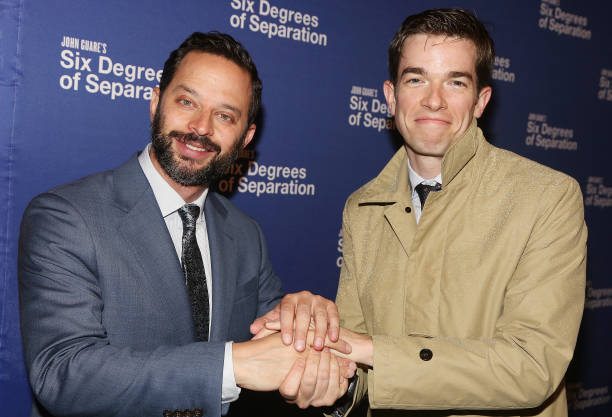 Nick Kroll And John Mulaney Pose At The Opening Night For Six Degrees Of Separation