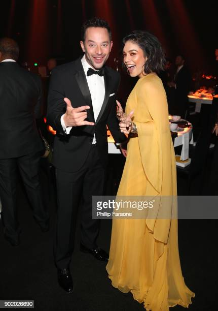 Nick Kroll and Vanessa Hudgens at The Art Of Elysium's 11th Annual Celebration with John Legend at Barker Hangar on January 6 2018 in Santa Monica...