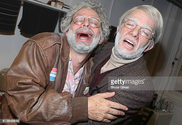 Nick Kroll as 'Gil Faizon' and John Mulaney as 'George St Geegland' pose backstage on The Opening Night of 'Oh Hello On Broadway' at The Lyceum...