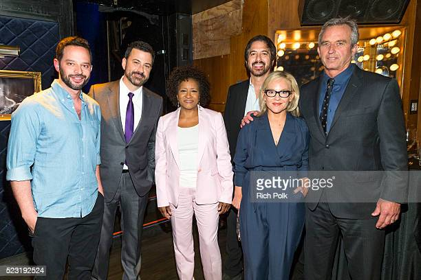 Nick Kroll Jimmy Kimmel Wanda Sykes Ray Romano Rachel Harris and Robert F Kennedy Jr pose for a photo back stage at the Keep It Clean Comedy Benefit...
