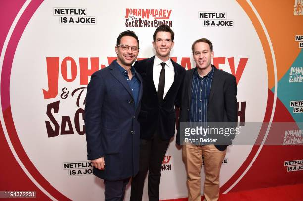 Nick Kroll John Mulaney and Mike Birbiglia attend the John Mulaney The Sack Lunch Bunch NY Special Screening at The Metrograph on December 16 2019 in...