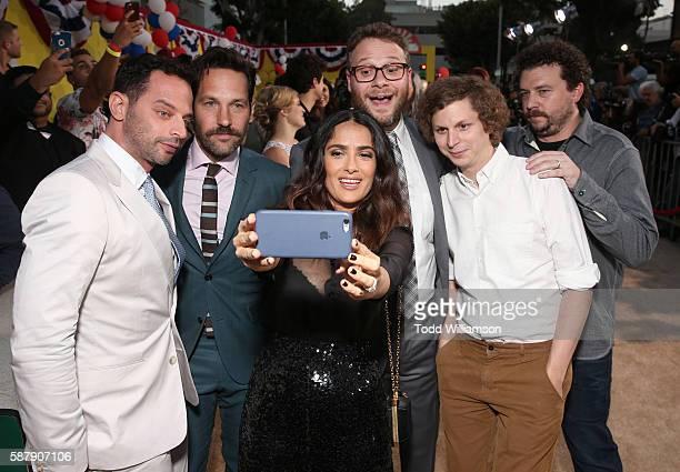 Nick Kroll Paul Rudd Salma Hayek Seth Rogen Danny McBride and Michael Cera take a selfie at the Premiere Of Sony's 'Sausage Party' at Regency Village...
