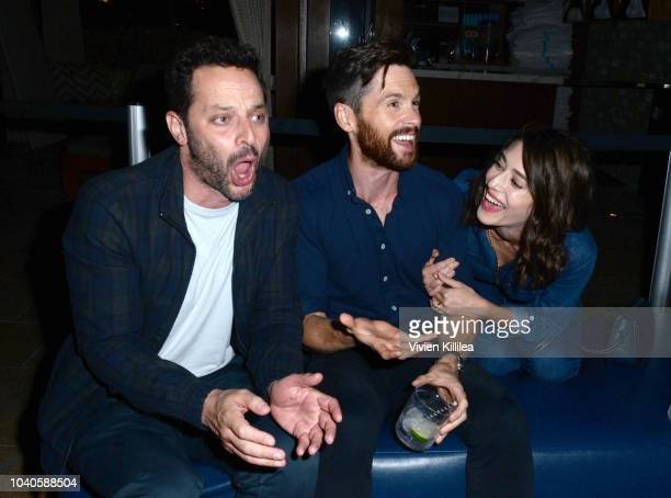 Nick Kroll, Tom Riley and Lizzy Caplan attend LA Film Festival World Premiere Gala Screening Of THE OATH on September 25, 2018 in Los Angeles,...
