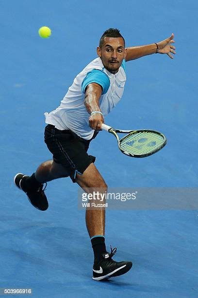 Nick Krygios of Australia Green plays a backhand in the men's single match against Kenny De Schepper of France during day six of the 2016 Hopman Cup...