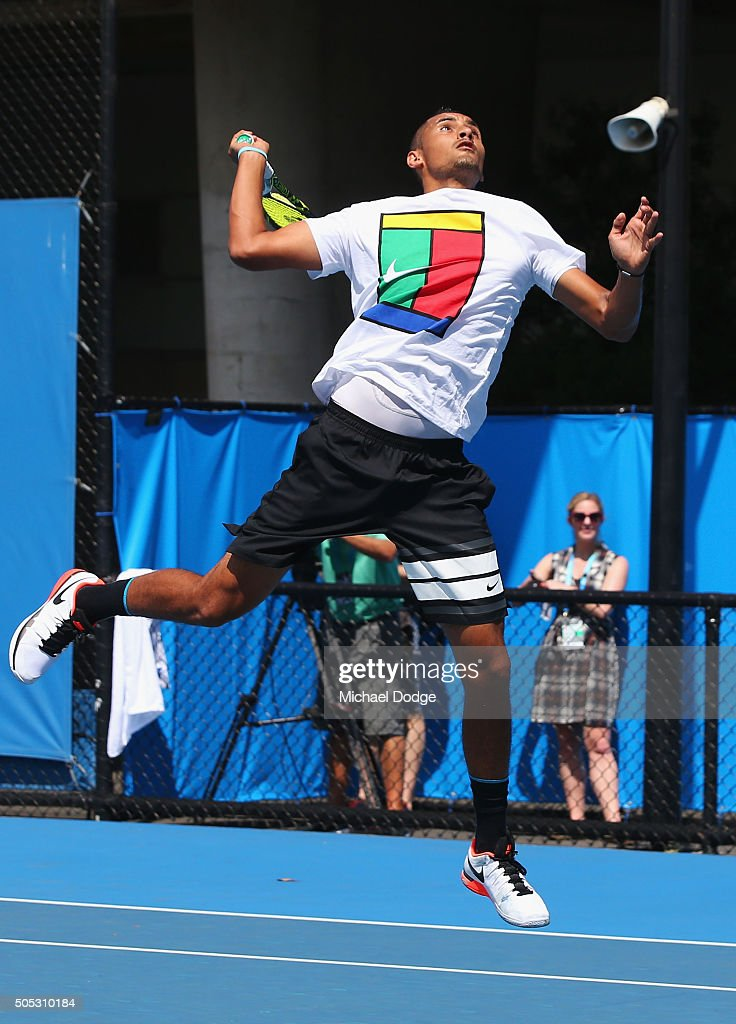 Nick Krygios of Australia proves his fitness by leaping to smash a lob during a practice session ahead of the 2016 Australian Open at Melbourne Park on January 17, 2016 in Melbourne, Australia.