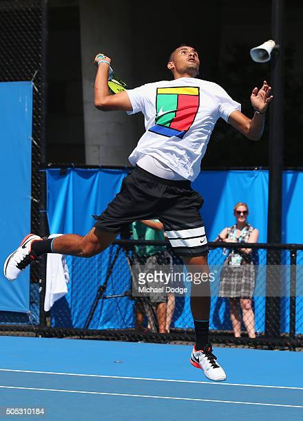 Nick Krygios of Australia proves his fitness by leaping to smash a lob during a practice session ahead of the 2016 Australian Open at Melbourne Park...