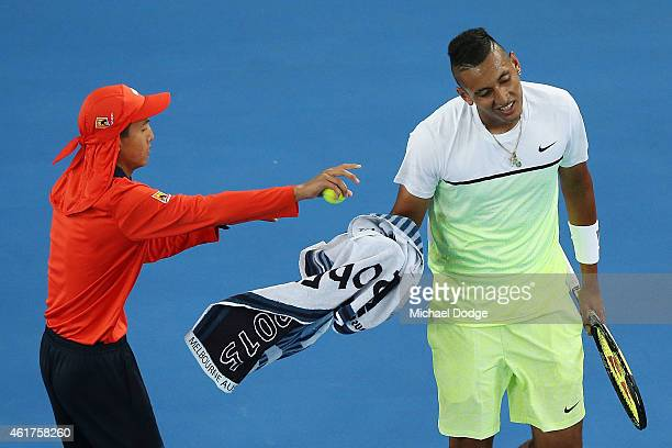Nick Krygios of Australia reacts after losing a game in his first round match against Frederico Delbonis of Argentina during day one of the 2015...