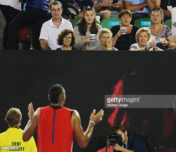 Nick Krygios of Australia reacts to spectators in his third round match against Tomas Berdych of the Czech Republic during day five of the 2016...