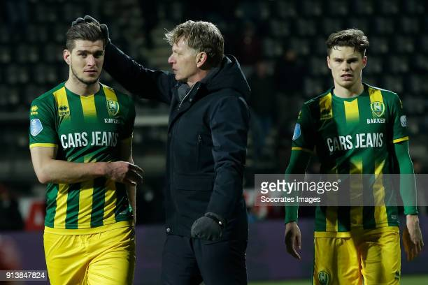 Nick Kuipers of ADO Den Haag coach Alfons Groenendijk of ADO Den Haag Bas Kuipers of ADO Den Haag during the Dutch Eredivisie match between Heracles...