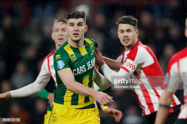 Nick Kuipers of ADO Den Haag Marco van Ginkel of PSV during the Dutch Eredivisie match between PSV v ADO Den Haag at the Philips Stadium on December...