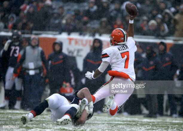 Nick Kwiatkoski of the Chicago Bears hits quarterback DeShone Kizer of the Cleveland Browns in the second quarter at Soldier Field on December 24...
