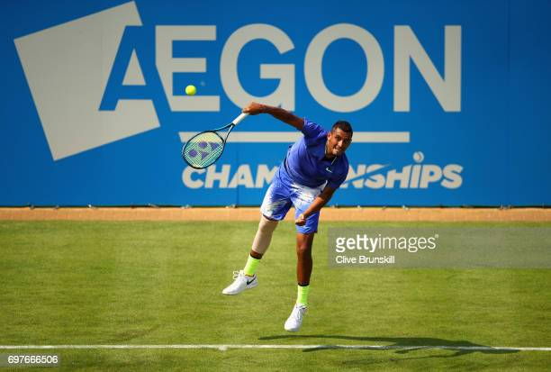 Nick Kygrios of Australia serves during the mens singles first round match against Donald Young of The United States during day one of the 2017 Aegon...