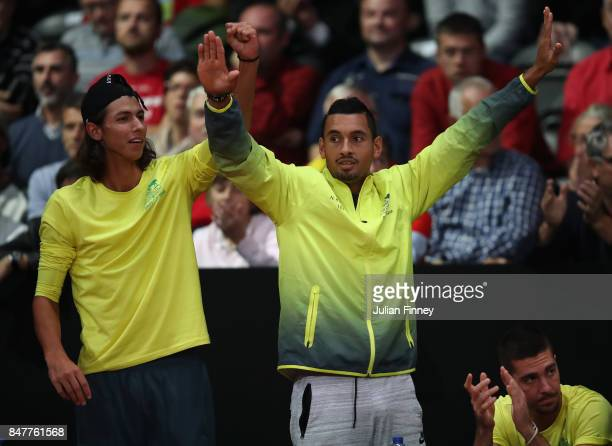 Nick Kyrgios and Alexei Popyrin are seen supporting John Millman of Australia against David Goffin of Belgium during day one of the Davis Cup World...