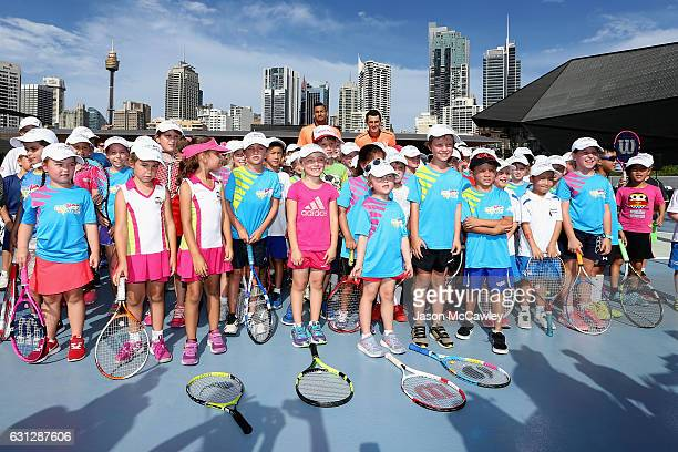 Nick Kyrgios and Bernard Tomic poses with future Fast4 stars ahead of the Fast4International Exhibition this evening at the ICC Sydney Theatre on...
