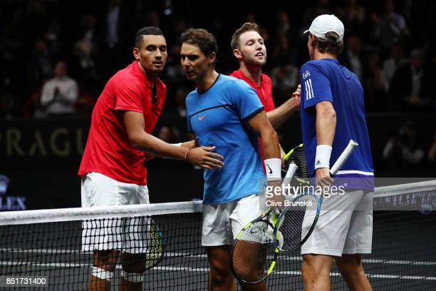 Nick Kyrgios and Jack Sock of Team World celebrate at the nate after winning there doubles match against Tomas Berdych and Rafael Nadal of Team...