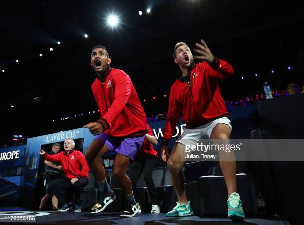 Nick Kyrgios and Jack Sock of Team World celebrate in the singles match between Dominic Thiem of Team Europe and Taylor Fritz of Team World during...