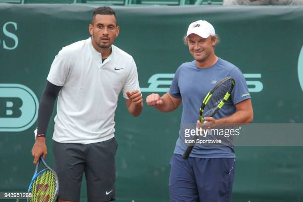Nick Kyrgios and Matt Reid watch their opponents during the Doubles first round of the US Men's Clay Court Championship on April 9 2018 at River Oaks...